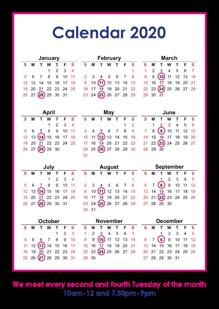 2020 Clutter Club Calendar